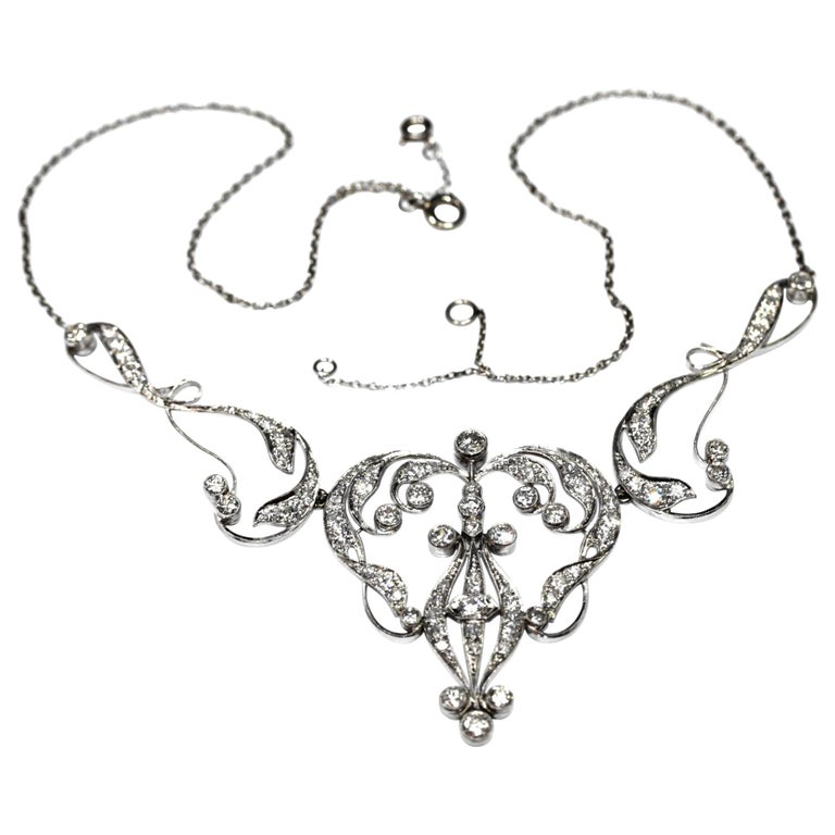 Necklace Art Nouveau Platinum Diamond Necklace For Sale