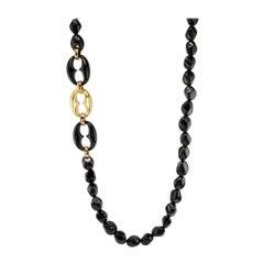 Necklace Black Agate and 18 Karat Gold