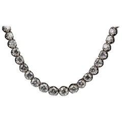 Brilliant Cut Graduated Diamond Collet Necklace of 9 Carats, English circa 1999
