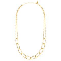 Necklace Chain Beaded Ball Classic 18K Gold Plated Sterling Silver Greek Jewelry