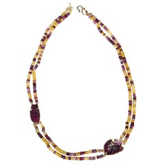 Necklace Faced Tourmaline 18 karat Gold Carved Fish Pink Tourmaline