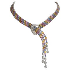 Necklace Flexible Belt in 18 Carat White Gold 80 Carat of Multi-Color Sapphires