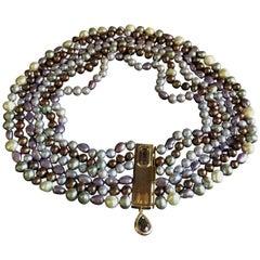 Necklace Freshwater Pearls 18 Karat Gold Amethyst Stones