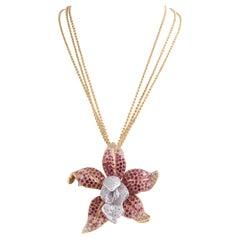 Necklace Gold 18 Karat Sapphires and Diamonds