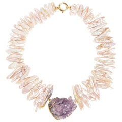 Necklace Gold Biwa Pearls Natural Crystal Amethyst