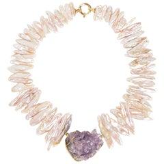 Necklace Gold  Biwa Pearls Natural Crystal Amethyst