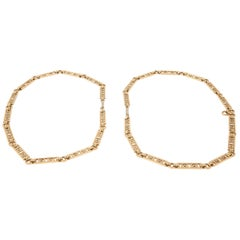 Openwork Link Necklace in 18kt Gold, Single or Two Shorter Chains, EU circa 1910