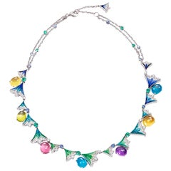 Necklace Gold White Diamond Sapphire Emerald Amethyst Topaz Tourmaline Peridhote