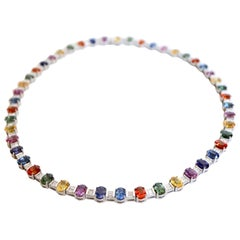 Necklace in 18 Carat White Gold 48 Multicolored Sapphires 53 Carat and Diamonds