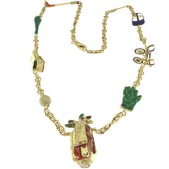 Necklace in 18 Karat Yellow Gold golf charm enameled