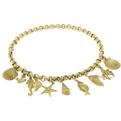 Necklace in 18 Karat Yellow Gold shell charm