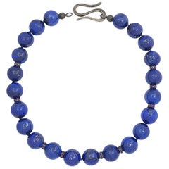 Necklace in 18 KT White Gold and Sterling Silver with Lapis Lazuli and Amethysts