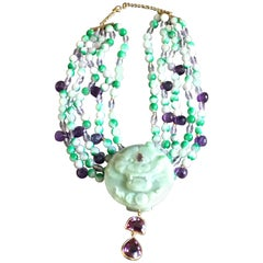 Necklace Jade Amethyst Antiques Carved Tiger Jade Stone 18 Karat Gold