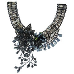 Necklace made of black limestone and black Swarovski pearls