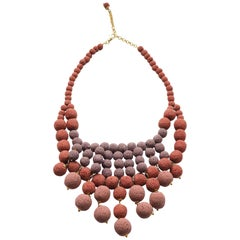 Necklace Madrepora Coral Gold Plate