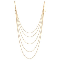 Necklace Minimal Long Movement Snake Chain Gold-Plated Brass Greek Jewelry