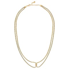 14 Karat Gold Necklace Minimal Short Double Snake Chain Greek Jewelry