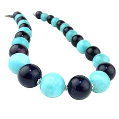 Necklace of Amazonite and Amethyst Spheres   February Birthstone