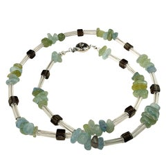 Gemjunky Necklace of Aquamarine, Smoky Quartz, and Crystal