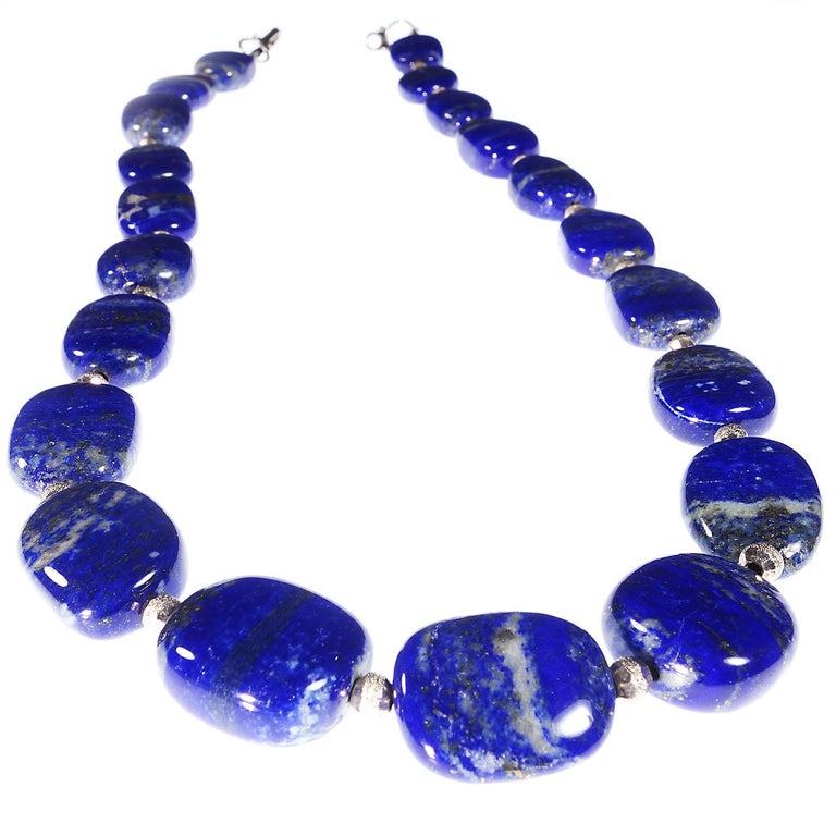 Large Deep Blue Lapis and Marbled Pink Kuznite Necklace