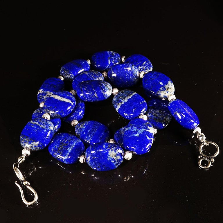 Necklace of Blue Lapis Lazuli nuggets with Silver tone accents For Sale 1