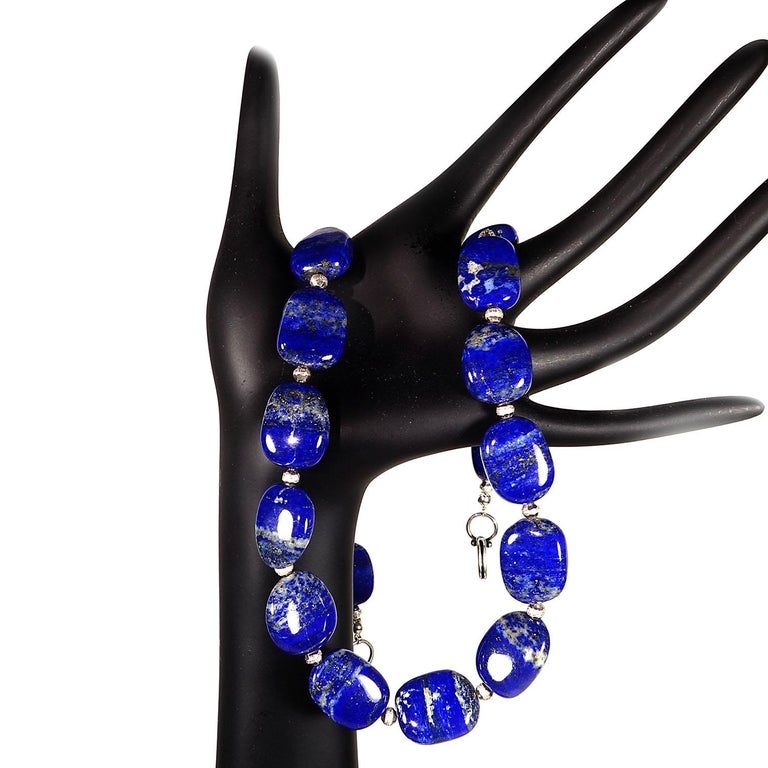 Necklace of Blue Lapis Lazuli nuggets with Silver tone accents For Sale 2