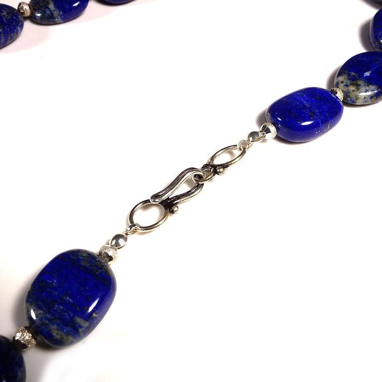 Necklace of Blue Lapis Lazuli nuggets with Silver tone accents For Sale 3