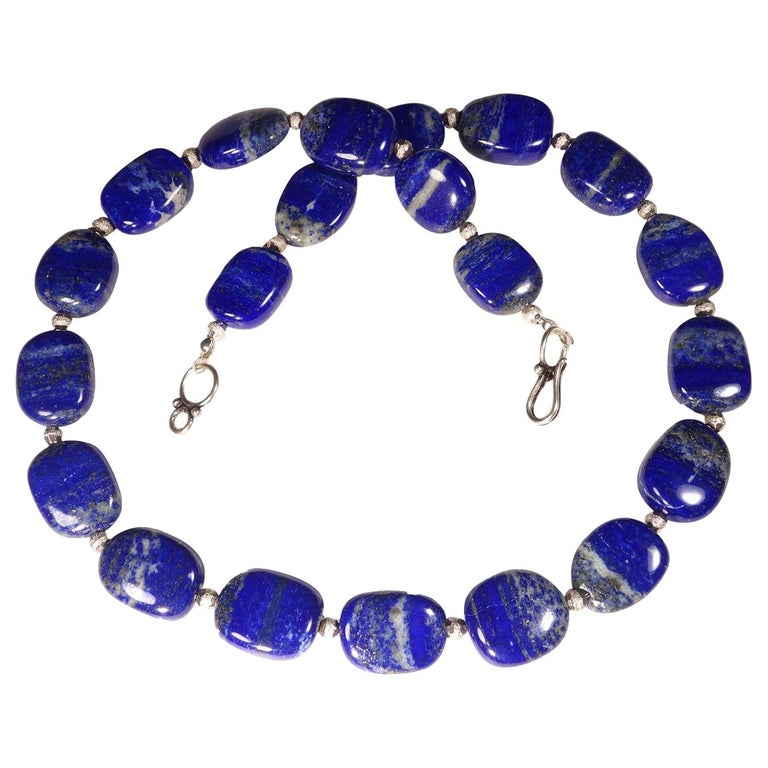 Necklace of Blue Lapis Lazuli nuggets with Silver tone accents For Sale
