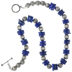 Necklace of Blue Lapis Lazuli Slices with Ribbed Silver Accents