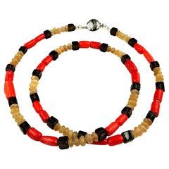 Gemjunky Necklace of Coral, Sunstone, and Smoky Quartz
