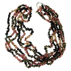 Gemjunky Necklace of Three Circles of Multi-Color Tourmaline Chips