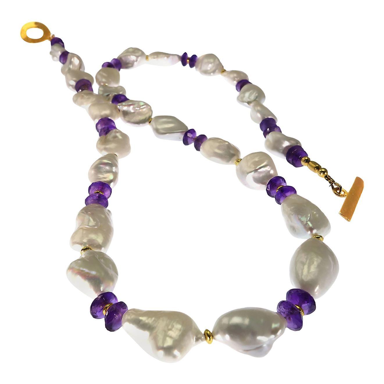 Gemjunky Necklace of  Baroque Pearls and Amethyst Rondelles  June Birthstone