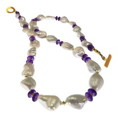 Gemjunky Necklace of White Iridescent Baroque Pearls and Amethyst Rondelles