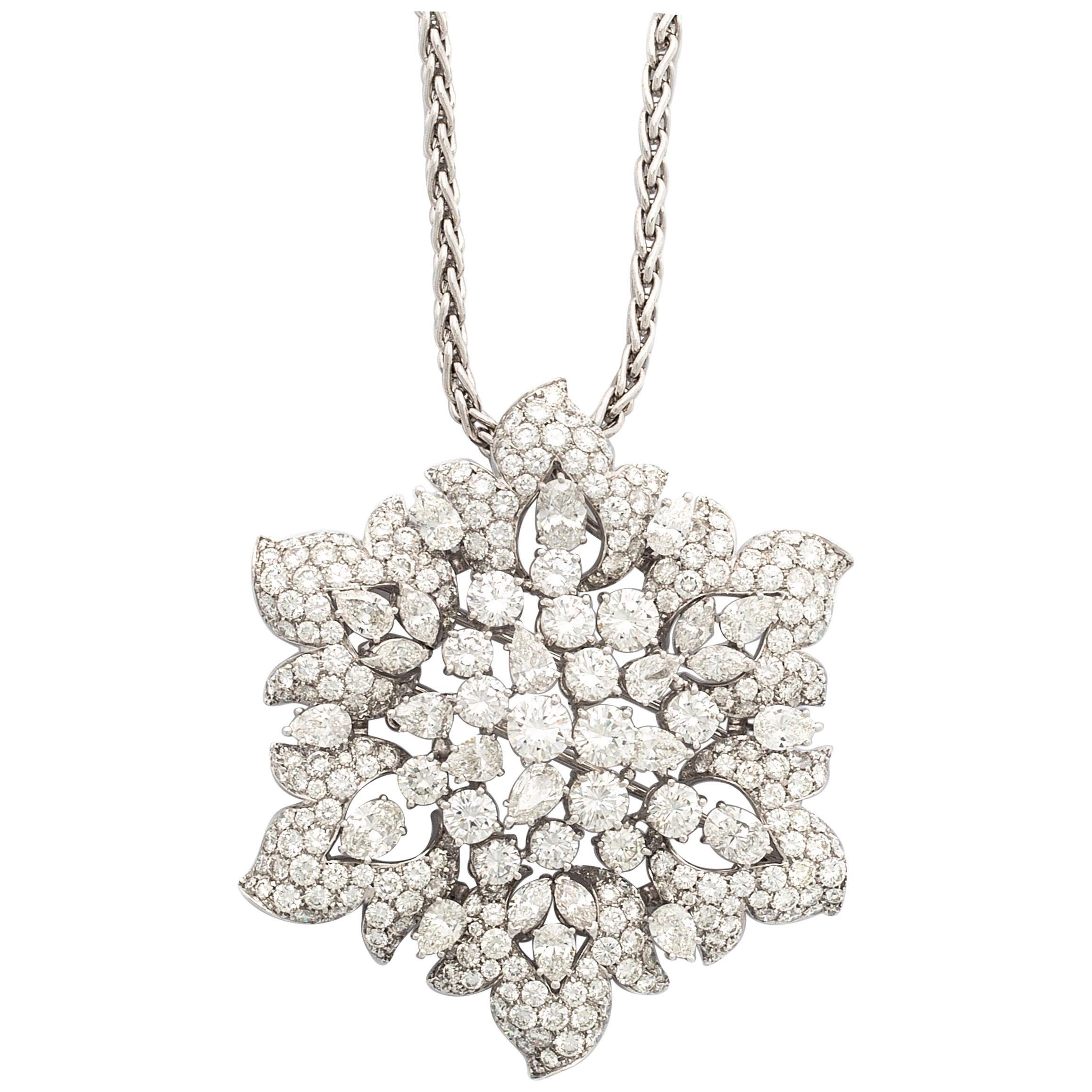 Necklace Pendant Brooch Diamond Flower
