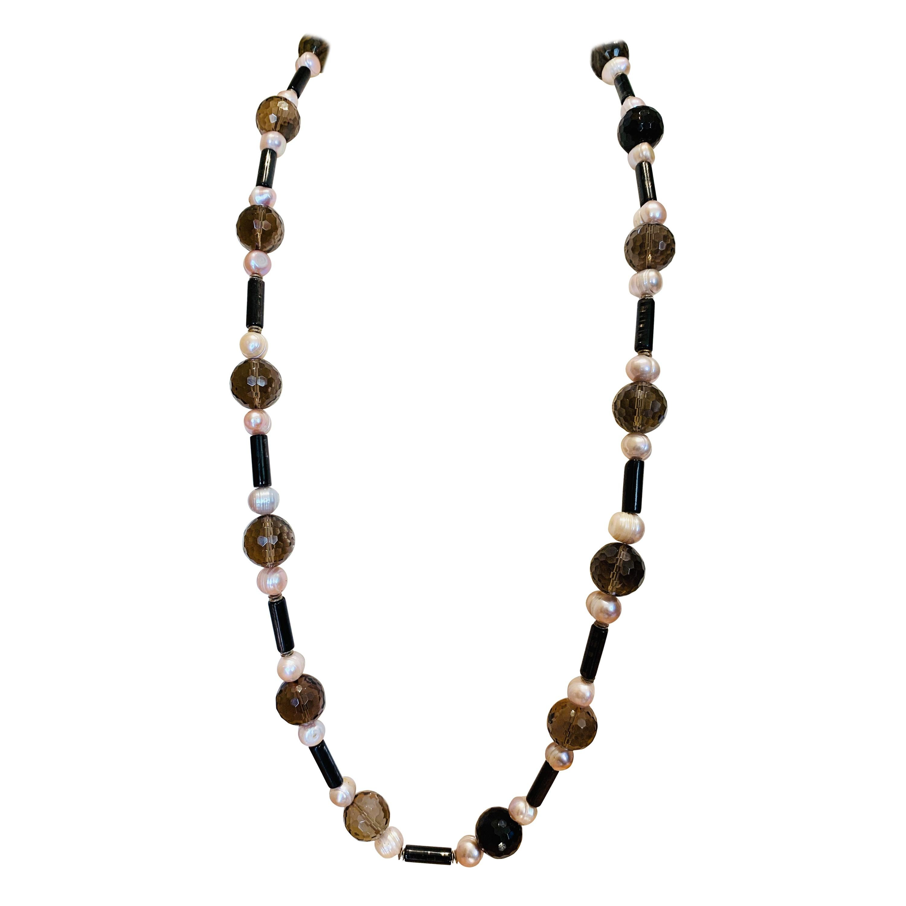 Necklace Smoky Quartz Pink Pearl Hypersthene Silver