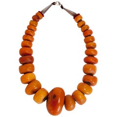 Necklace Strung with Antique Tibetan Amber Beads