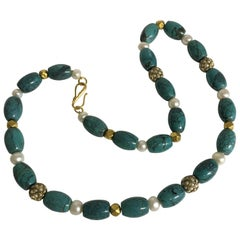 Necklace Tibetan Turquoise, Freshwater Pearls Seed Pearl and 18 Karat Gold Beads
