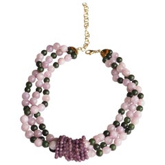 Necklace Torchon Opal Jade 18 Karat Gold