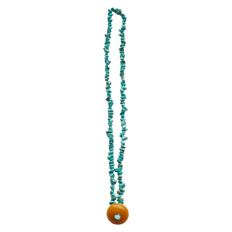 Necklace Turquoise Amber 18 Karat Gold For Sale