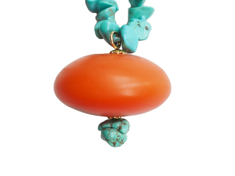 Necklace Turquoise Amber 18 Karat Gold In New Condition For Sale In Milan, IT
