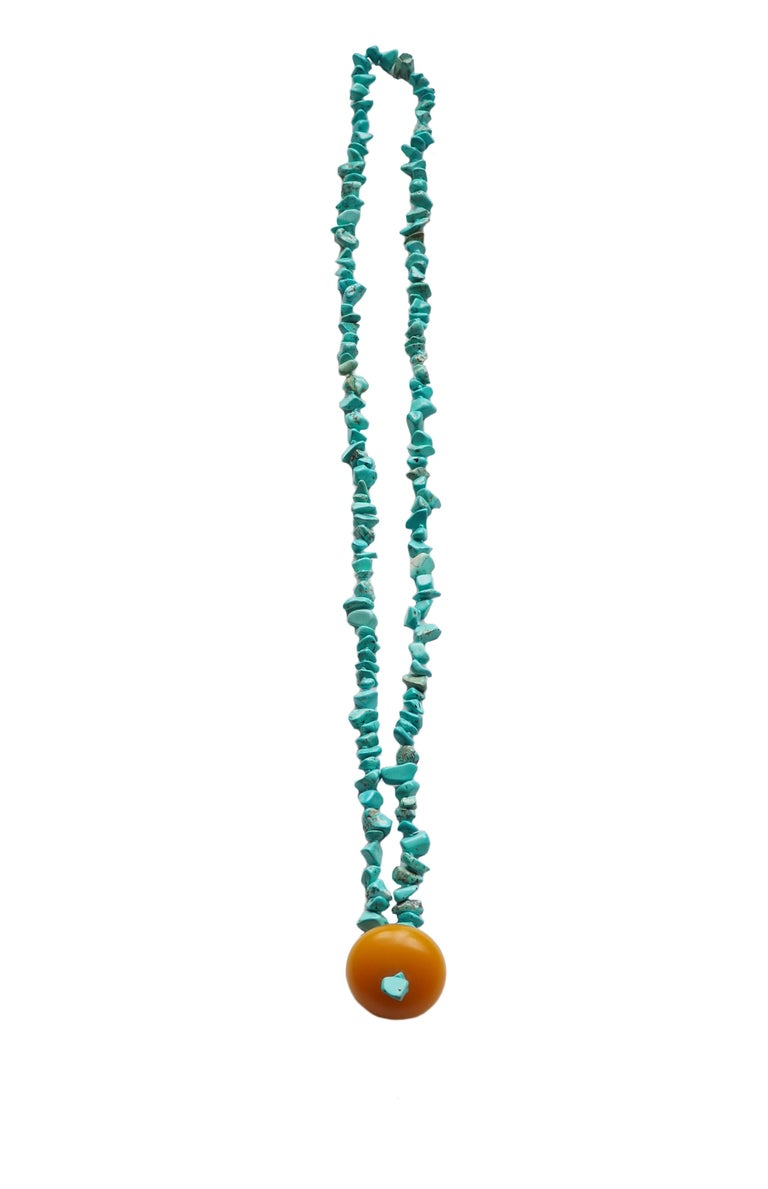 Necklace Turquoise Amber 18 Karat Gold For Sale 1