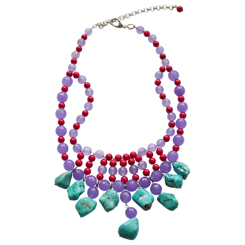 Necklace Turquoise Coral Lavander Jade Silver