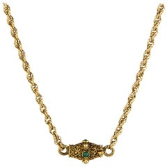 Necklace Vintage 14 Karat Yellow Gold Rope Chain Turquoise Cannetille Clasp