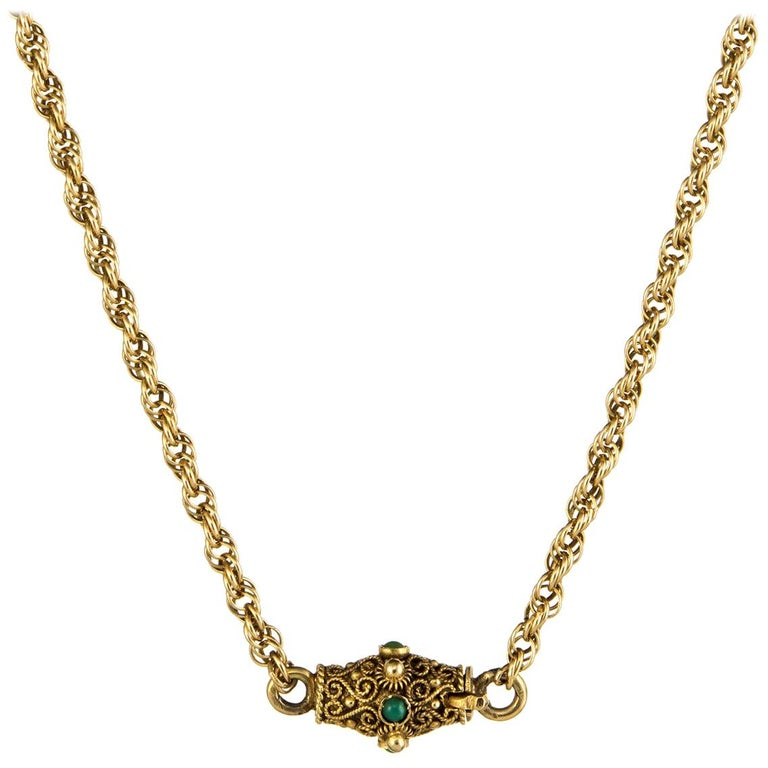 Necklace Vintage 14 Karat Yellow Gold Rope Chain Turquoise Cannetille Clasp For Sale