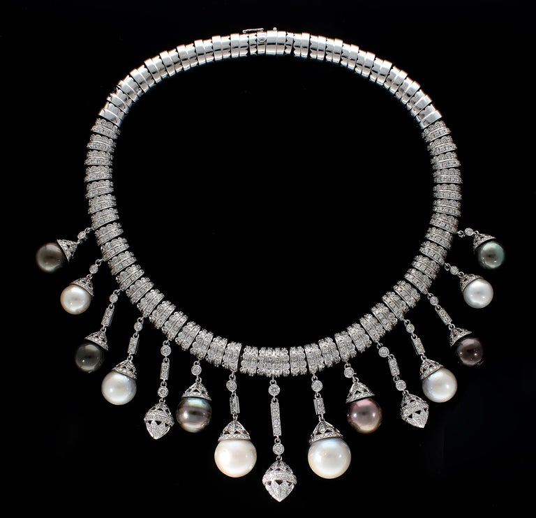 Modern Necklace White Gold and Diamonds, Pendants with White and Black Pearls S.S. For Sale