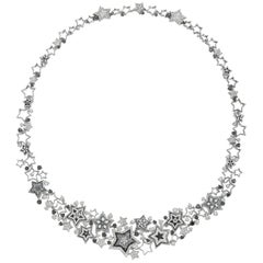 Necklace White Gold White and Black Diamonds Hand Decorated with Micro Mosaic