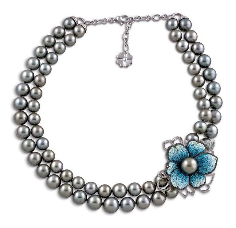 Modern Necklace White Gold White & Black Diamonds Black Pearls HandDecorated NanoMosaic For Sale
