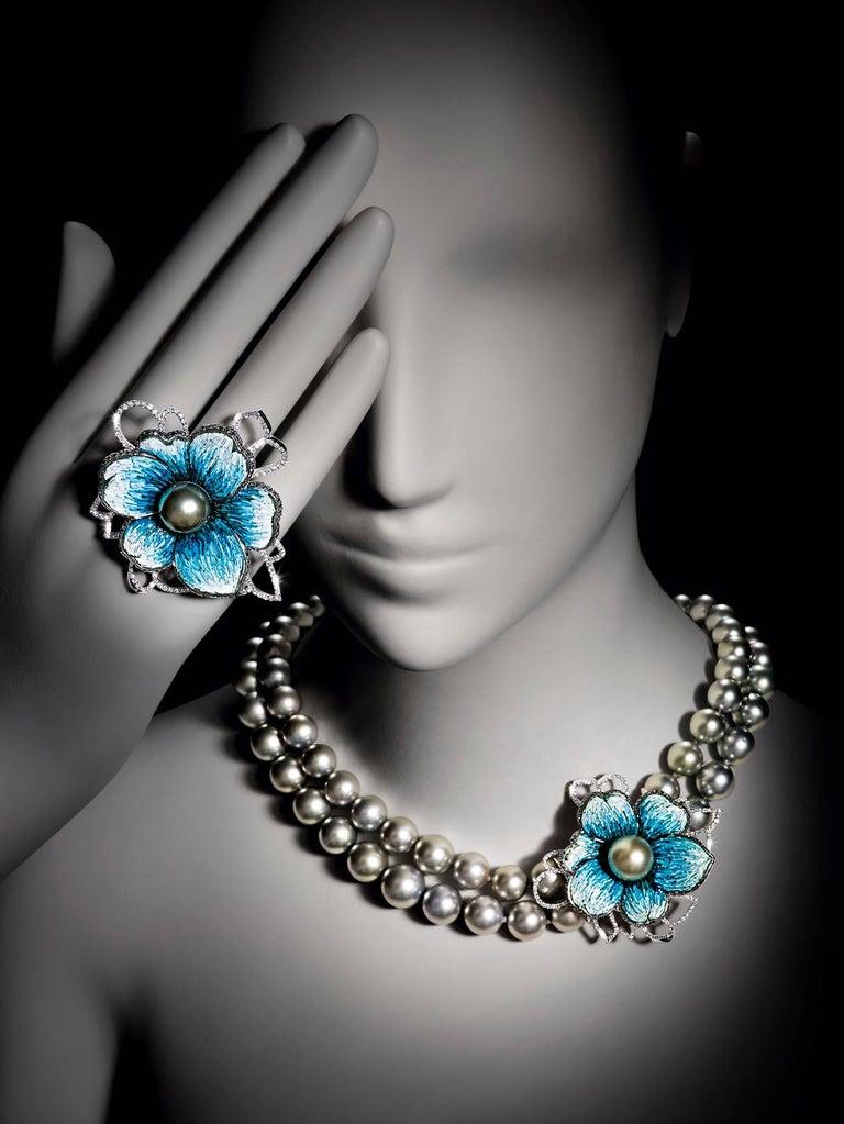 Brilliant Cut Necklace White Gold White & Black Diamonds Black Pearls HandDecorated NanoMosaic For Sale