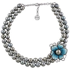 Necklace White Gold White & Black Diamonds Black Pearls HandDecorated NanoMosaic