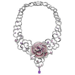 Necklace White Gold White Diamonds Sapphires Hand Decorated with Micro Mosaic